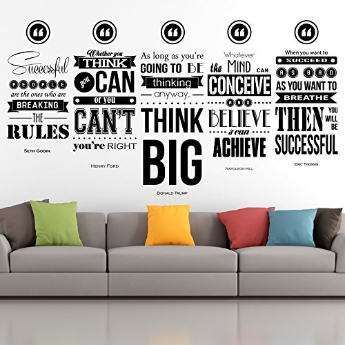 Donald Trump, Henry Ford, Napoleon Hill, Seth Godin, Eric Thomas Inspirational Wall Decal Quotes Set of 5 Collage Sale by My Vinyl Story