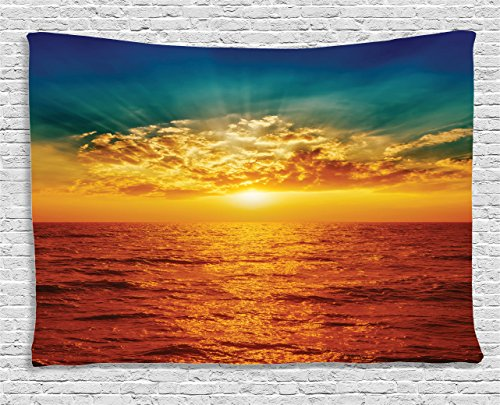 Ambesonne Sunset Tapestry Ocean Decor, Cloudscape Sky Exotic Seaside Sun Magical Evening View Decorative Picture Print, Bedroom Living Room Dorm Wall Hanging Art, 60 W X 40 L inch, Multi by Ambesonne