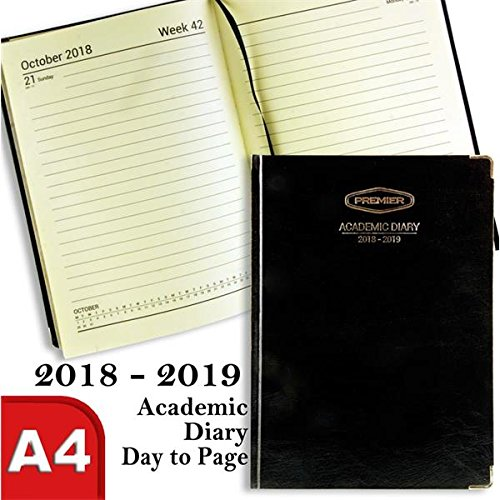 Premier Stationery S5714924 A4 Day to a Page 2018-2019 Hard Cover Academic Diary