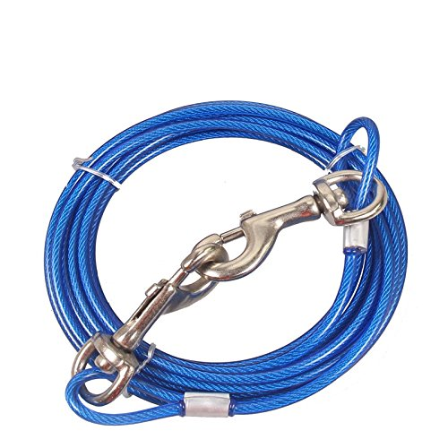 Stainless Steel Pet Dog Tie Out Cable - Double Head Dog Leash Camping Outdoor Tie-out Cable for Medium Large Pet Dogs (3m/10Ft, Blue)