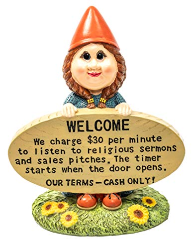 Brashfords Lawn and Garden Gnome Statue Figurine. 8 1/2 with Funny Welcome Sign for Home Decor. Unique Housewarming Gift for The Home and Garden, Yard, Porch and Lawn use.
