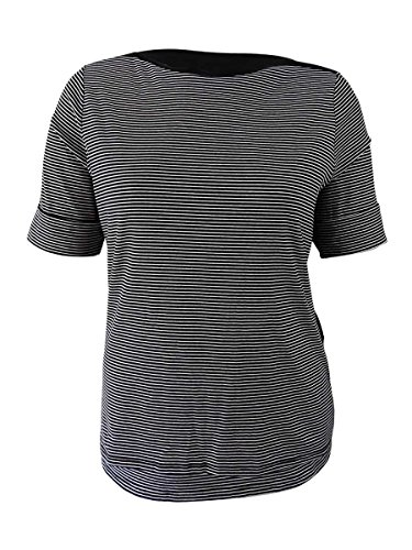Lauren Ralph Lauren Womens Plus Striped Elbow Sleeves T-Shirt B/W 3X