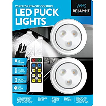Brilliant Evolution BRRC134 Wireless LED Puck Light 2 Pack With Remote  Control   Operates On 3 AA Batteries   Kitchen Under Cabinet Lighting