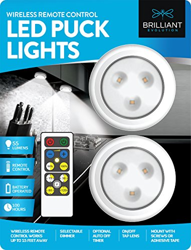 Interior Cabinet Lighting - Brilliant Evolution Wireless Remote Control LED Puck Light 2 Pack | LED Under Cabinet Lighting | Closet Light | Battery Powered Lights | Under Counter Lighting | Stick On Lights