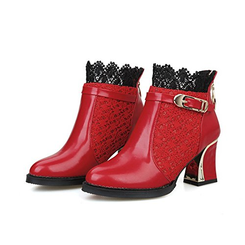 BalaMasa Womens Chunky Heels Lace Buckle Imitated Leather Boots Red CiLi0MpcK