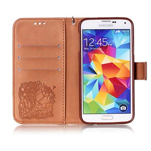 Funda Galaxy S5, Carcasa Plegable para Galaxy S5, Funda de piel Samsung S5, Lifetrut Sólido Shiny Sparkle libro de estilo funda de cuero con ranura para tarjetas de cierre magnético soporte funda de t E216-Rose Flor en marrón