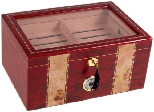 (180 ct CLEAR TOP BURL WOOD CIGAR HUMIDOR)