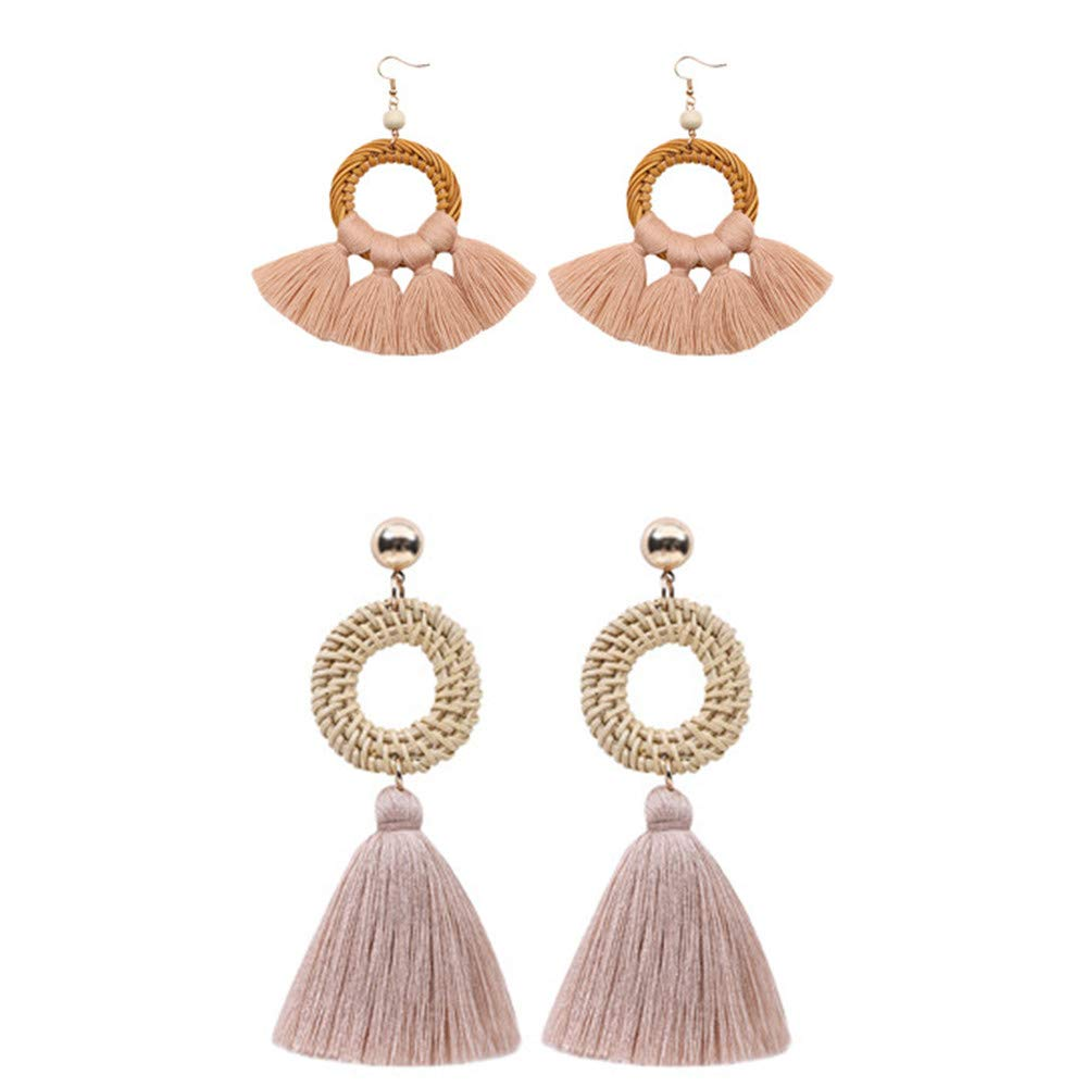 Popvip Tassel Earrings 2 Pairs Handmade Rattan Bohemian Dangle Drop Tiered Tassel Stud Earrings for Women Girls Accessories