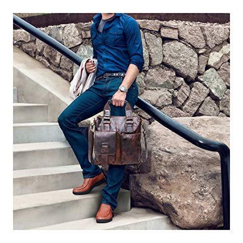(Crazy-Horse Genuine Cow Leather Messenger Satchel Laptop Briefcase Satchel Shoulder Bag Bookbag Ship from USA (Brown))