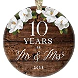 "2018 Christmas Ornament Mr. & Mrs. 10th Tenth Wedding Anniversary Gift Porcelain Keepsake Celebrate Couple's Ten 10 Year Marriage Rustic Floral 3"" Flat Ceramic Collectible with Gold Ribbon & Free Box"