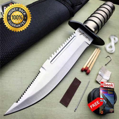 10'' TACTICAL SURVIVAL Rambo Hunting FIXED BLADE KNIFE Army Bowie SHEATH For Hunting Tactical Camping Cosplay + eBOOK by MOON KNIVES -