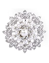 EVER FAITH Women's Crystal Cream Simulated Pearl Elegant Flower Leaf Corsage Brooch Clear Silver-Tone