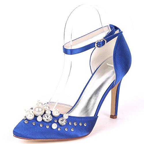 Chaussure Talon Satin Mariage De 0608 UK9 De Strass Bal Pompes Haute Femmes Flower Ager Soirée Strap 22F Cheville Blue EU42 Robe CXqwpZzT