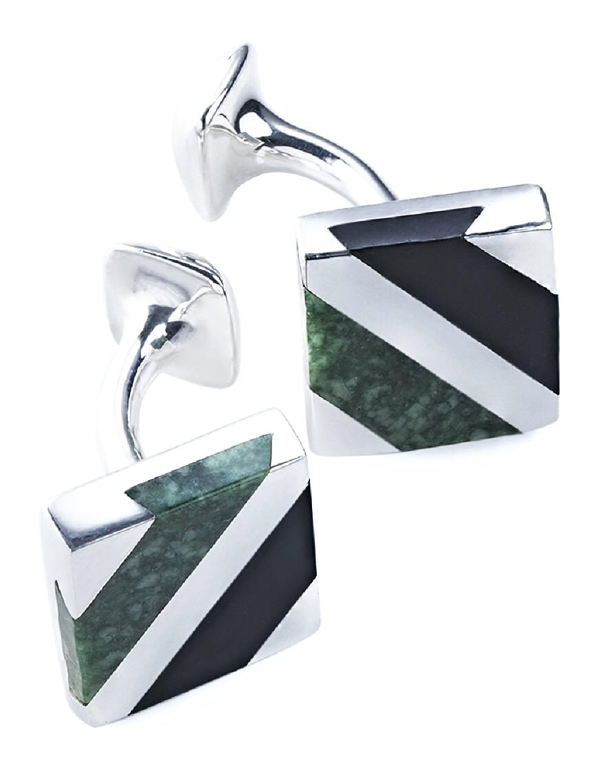 CdJ 925 Sterling Silver Cuff Links featuring 12x11mm Jaguar Green Jadeite Jade Inlays by Casa del Jade