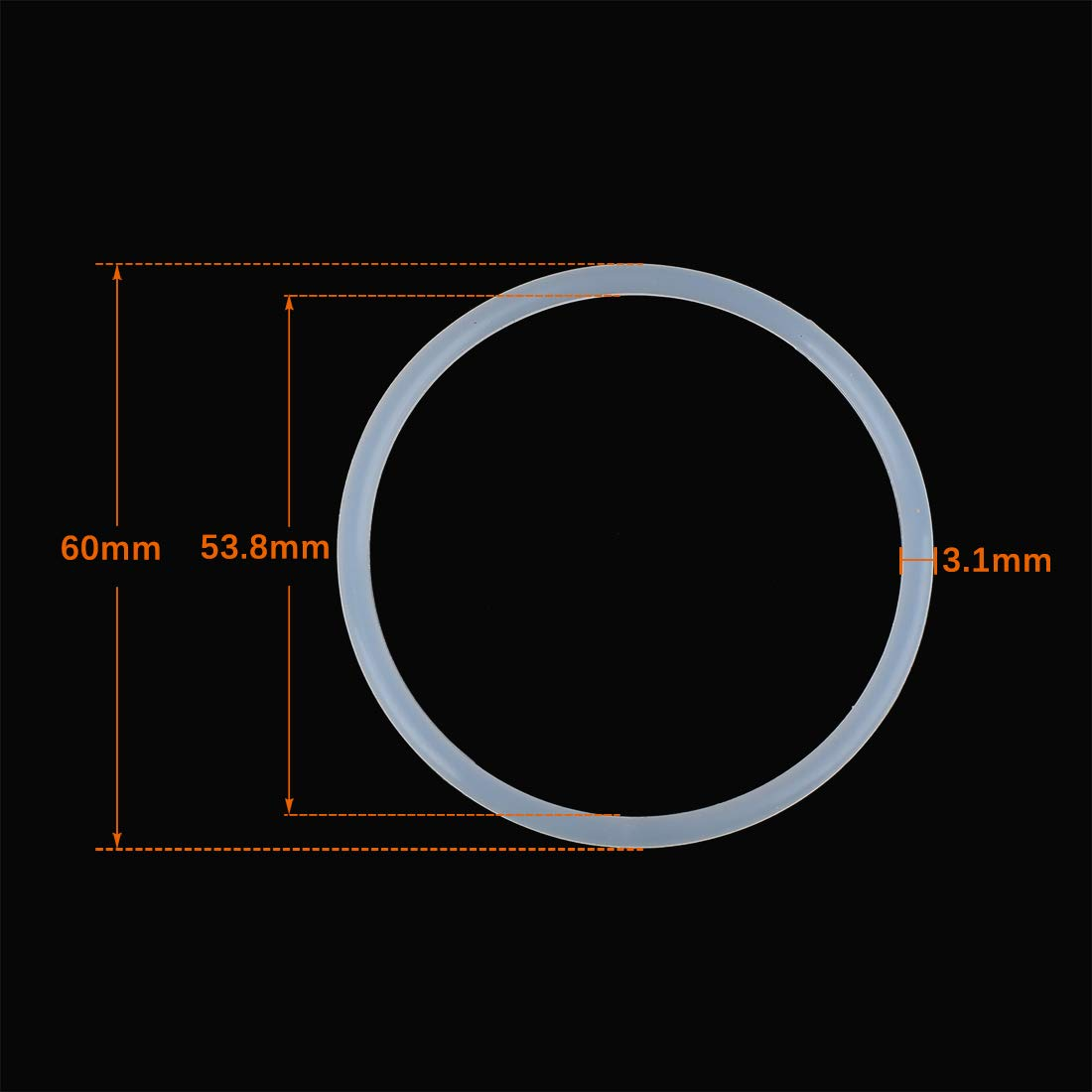X AUTOHAUX 10pcs White Silicone Rubber O-Ring Seal Gasket for Car 60mm x 3.1mm
