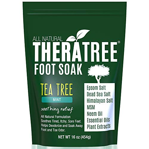 Tea Tree Oil Foot Soak with MSM, Neem & Epsom Salt 16oz - Helps Fight Foot Odor and Dry, Itchy, Irritated Skin by Oleavine TheraTree