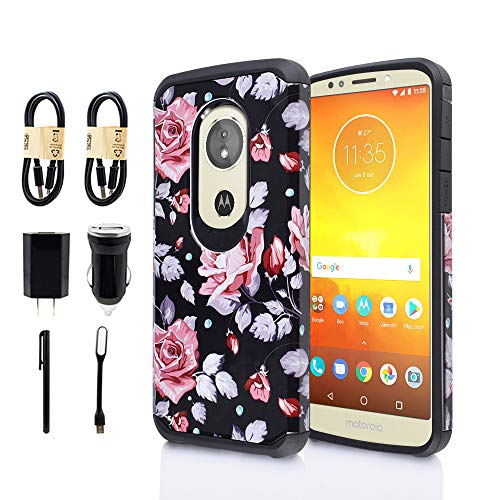 (Moto G6 Play Case [Not MOTO G6], Shock Proof Edges Hard Back Hybrid Protective Layers Bumper Slim Cover Motorola Moto G6 Play (G Play 6th Generation) [Value Bundle] (Pink Flower) )