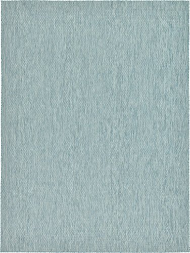 Unique Loom Outdoor Collection Casual Solid Accent Home Décor Aquamarine Area Rug (9' x 12') ()