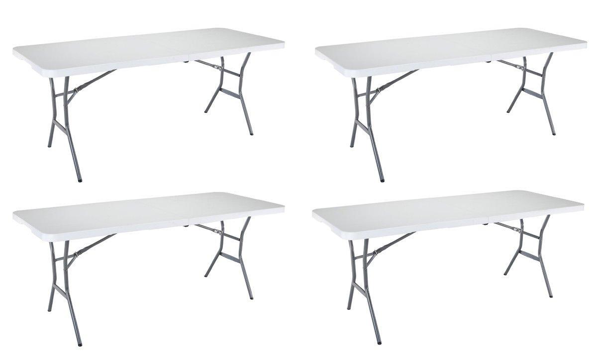 Lifetime WASQWE 25011 折り畳み式 ハーフライト 商用テーブル 6フィート ホワイトグラナイト 4個パック B07J4QSXL2
