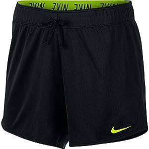 "Nike Women 5"" Workout Shorts (Small, Black/Volt)"