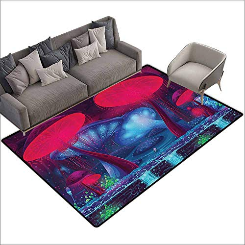 Kitchen Carpet Mushroom Decor,Magic Mushrooms with Vibrant Neon Lights Graphic Image Enchanted Forest Theme Print,Blue Red 80
