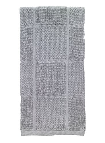 T-Fal Textiles Woven Parquet Design, Highly Absorbent 100% Cotton Kitchen Dish Towel, 16-inch by 26-inch, Gray