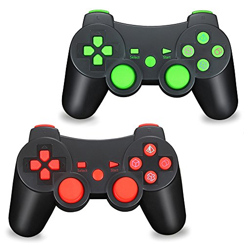 TPFOON Wireless Controller, 2pcs Pack Bluetooth Double Vibration Sixaxis Gamepad Joystick Compatible with Sony Playstation 3 PS3