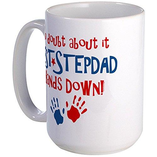 CafePress Hands Down Best Stepdad Large Mug Coffee Mug, Large 15 oz. White Coffee Cup