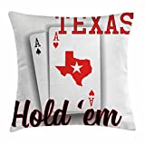 Lunarable Poker Tournament Throw Pillow Cushion Cover, Texas Hold'em Theme Pair of ACES with Map of The Land Winning Hand, Decorative Square Accent Pillow Case, 28 X 28 inches, Red Black White