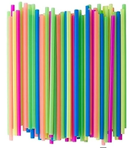 Neon Plastic Straws,Disposable-Safe Free Plastic, Pack 100 Straws (Safe And Edible Glow)