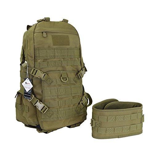 Huijukon 40L Military Tactical Backpack Waterproof Molle Backpack Rucksack Bag Hydration Pack Backpacks for Camping Hiking Trekking Travelling Hunting (Khaki)