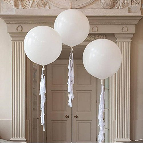 Dr. JONY Giant Balloons 36-Inch white balloons (Premium Helium Quality) Pkg/6 , for Birthdays Wedding Photo Shoot and Festivals Christmas and Event Decorations