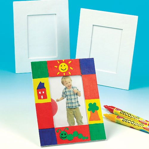 Baker Ross Large Craft Photo Frames (Pack of 5) For Kids to Decorate, Arts and Crafts