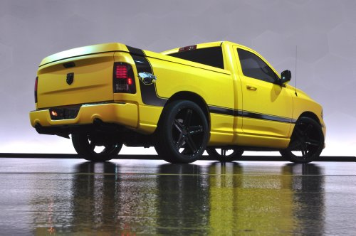 - Dodge Ram 1500 Rumble Bee Concept (2013) Truck Art Poster Print on 10 mil Archival Satin Paper Yellow Rear Side Static View 36