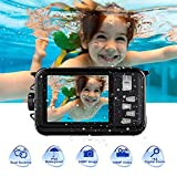 Underwater Camera Camcorder Full HD 1080P for Snorkeling 24.0 MP Waterproof Point and Shoot Digital Camera Dual Screen Action Camera (801BK)
