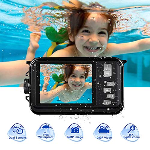 Underwater Camera for Snorkeling 24.0 MP Waterproof Camera Full HD 1080P Underwater Digital Camera Selfie Dual Screen Waterproof Action Camera
