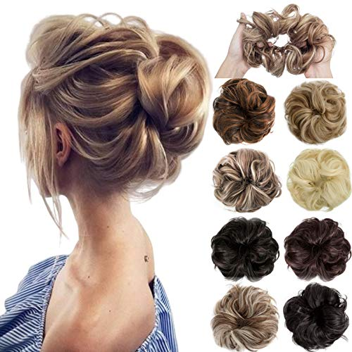 Felendy Messy Hair Bun Extensions Donut Chignons Wedding Hairpiece Thick Curly Wavy Hair Updo for Women Lady Girl Dark Brown