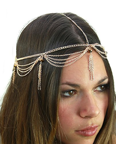4 Strands Head - Women's Bohemian Fashion Head Chain Jewelry - 4 Draping Chain Strand Faceted Bead Charm, Gold-Tone