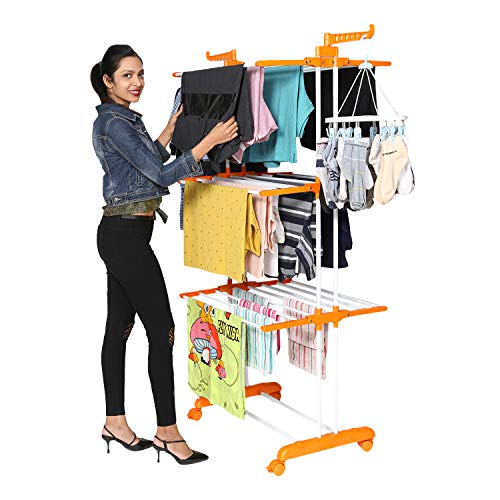 Happer Premium Double Supported 3 Layer Cloth Drying Stand with Breaking Wheels, Prince Jumbo (Orange) (B08243CLRL) Amazon Price History, Amazon Price Tracker