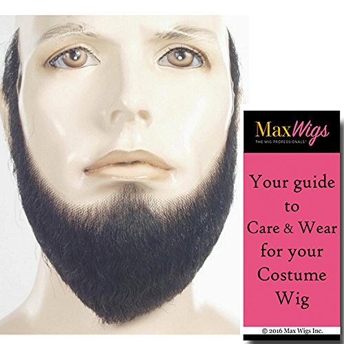 HX4 Full Face Lincoln Beard Color BLACK - Lacey Wigs Human Hair Lace Backed Hand Made Fake Facial 19th Century Bundle with MaxWigs Costume Wig Care Guide -