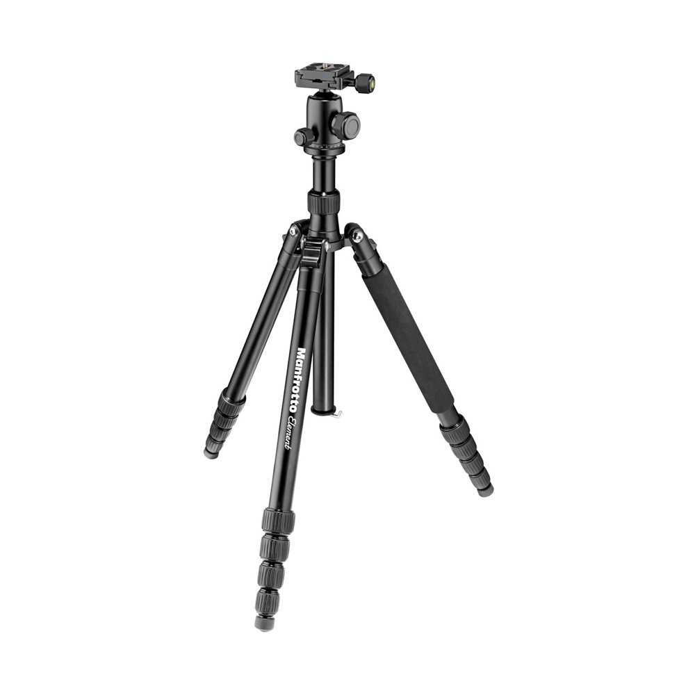 Manfrotto Element Traveller Small Aluminum 5-Section Tripod Kit with Ball Head, Element Large 64.6'', Black by Manfrotto
