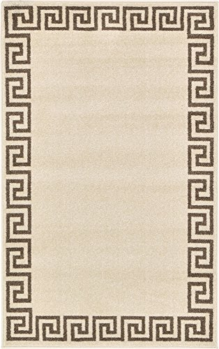 Unique Loom Athens Collection Geometric Casual Modern Border Beige Area Rug 3 3 x 5 3