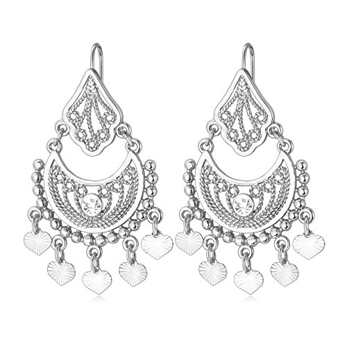 U7 18K Gold Half Moon & Tinkle Bell Love Classic Dangling Earrings (Platinum)