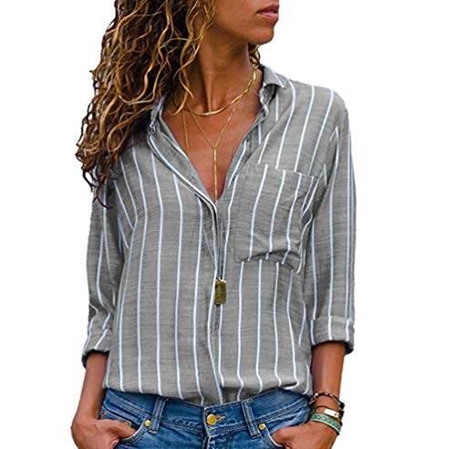 Blouse Femme Chemises Taille en Longues Gris Chemisier T V Grande Col Vrac Xinwcang Boutons Raye Tops Shirt Hauts Manches qSFHEH