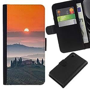 All Phone Most Case / Oferta Especial Cáscara Funda de cuero Monedero Cubierta de proteccion Caso / Wallet Case for Sony Xperia Z3 D6603 // Tosca Landscape Sunrise Wine