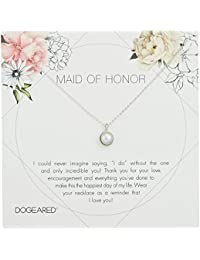 """Dogeared Maid of Honor Flower Card Large Bezel Pearl Pendant Chain Neckalce, 16"""" + 2"""" Extension"""
