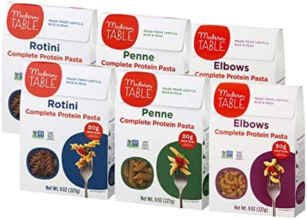 Modern Table Gluten Free, Complete Protein Lentil Pasta, Variety Pack (Elbows, Penne, Rotini), 6 Count