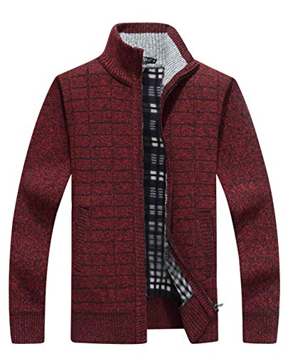 Vcansion Mens Knitted Fleece Cardigan Sweaters Warm Classic Long Sleeve Full Zip up Plus Jacket Coats Claret US M/Asian XL