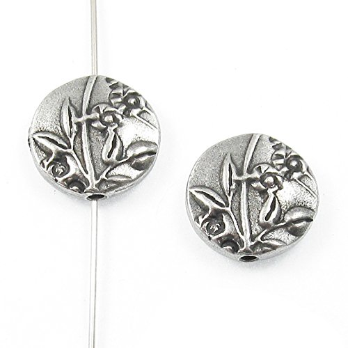 TierraCast Double-Sided Puffed Coin Beads-Pewter Jardin 15mm (2 Pcs) (Coin Puffed Beads)
