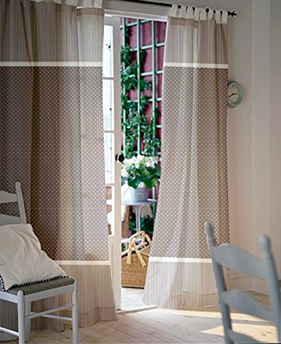 Panel 84l (Window curtains - Nursery curtains - Kids curtains - Pair of 84L 45W inch - Gray and White Polka dot and stripes curtains - Grey drapes - Gender nuetral nursery window panels)